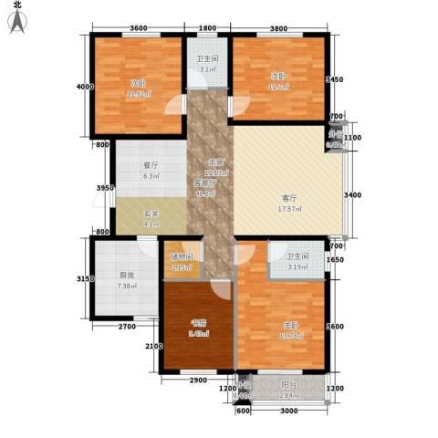 藏龙福地4室1厅2卫1厨151.00㎡户型图