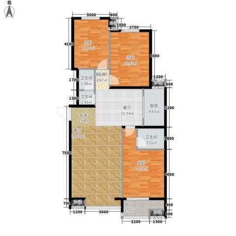 藏龙福地3室1厅3卫1厨135.00㎡户型图