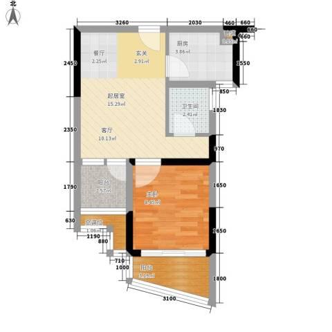 碧桂园椰城1室0厅1卫1厨44.55㎡户型图
