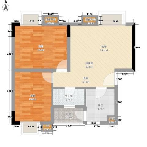 星汇晴轩2室0厅1卫1厨69.00㎡户型图