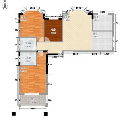 长房西郡3室0厅2卫1厨128.00㎡户型图