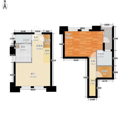 美林・银谷1室0厅2卫1厨70.00㎡户型图