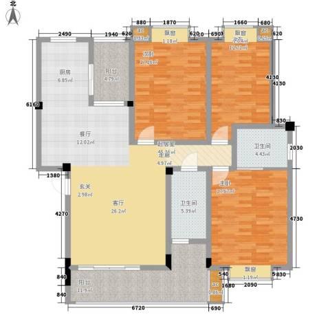 观湖苑3室0厅2卫0厨137.00㎡户型图