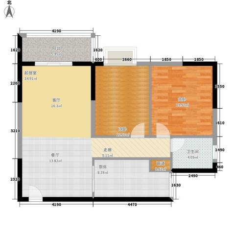 美林・银谷2室0厅1卫1厨89.00㎡户型图