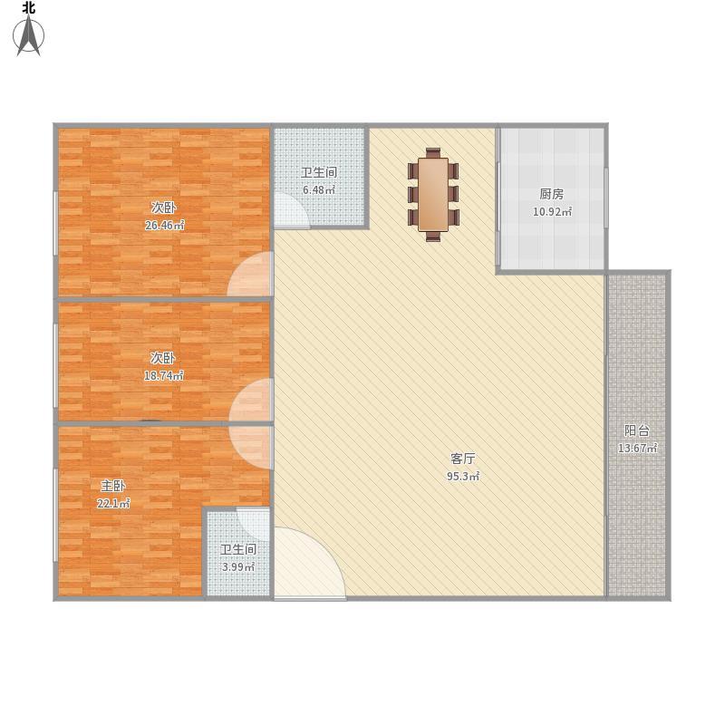 158平三室两厅两卫