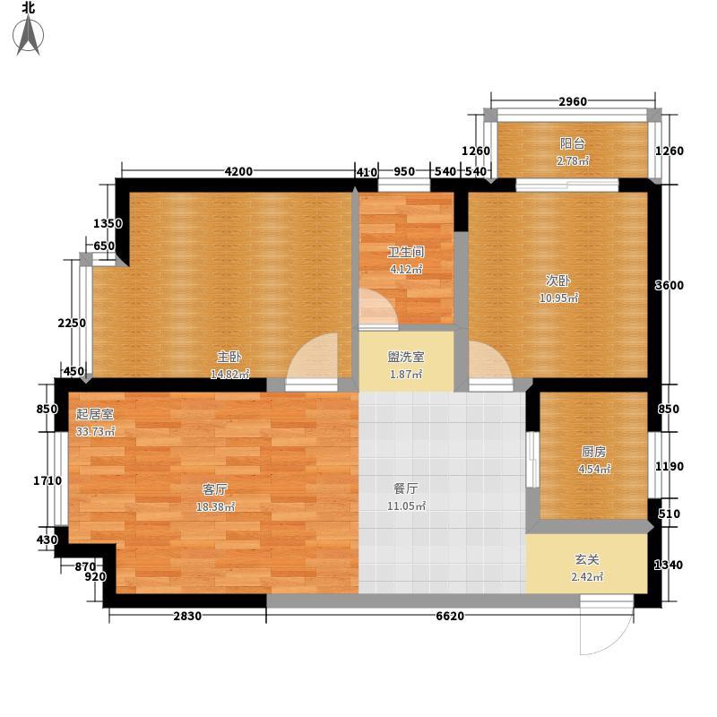 荣盛阿尔卡迪亚89.00㎡12-3--两面积8900m户型