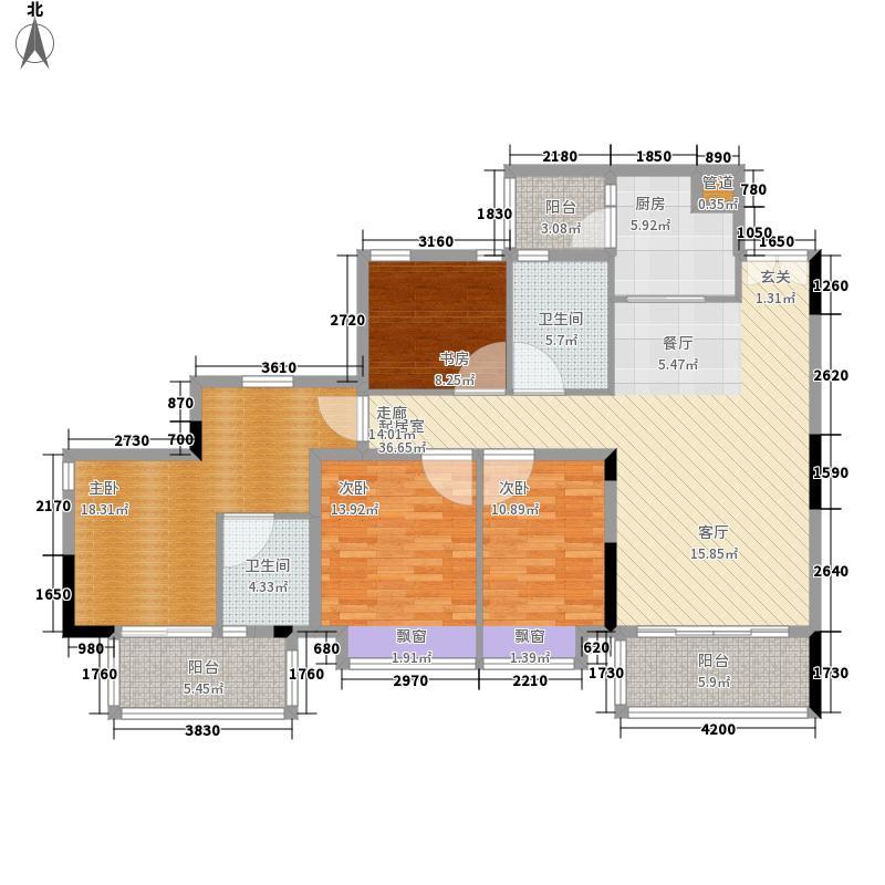 天韵瑚璟花园135.36㎡C1户型4室2厅