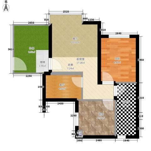 祈福新村活力花园1室1厅1卫1厨57.00㎡户型图