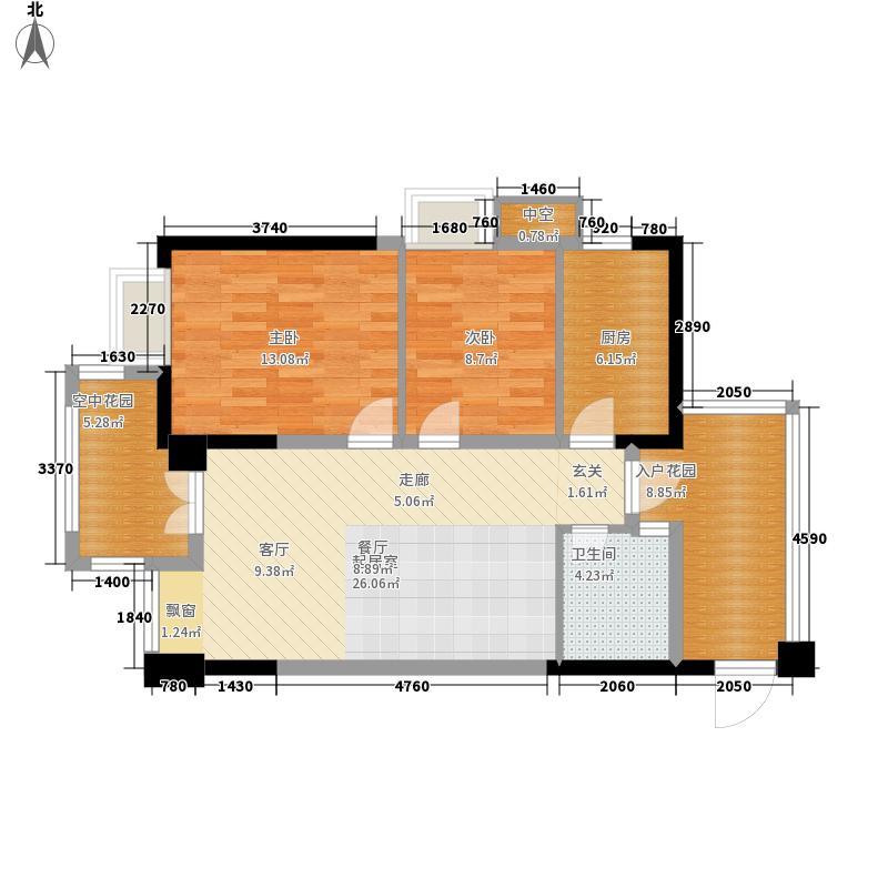 熙望85.00㎡二期13-15号楼B1面积8500m户型