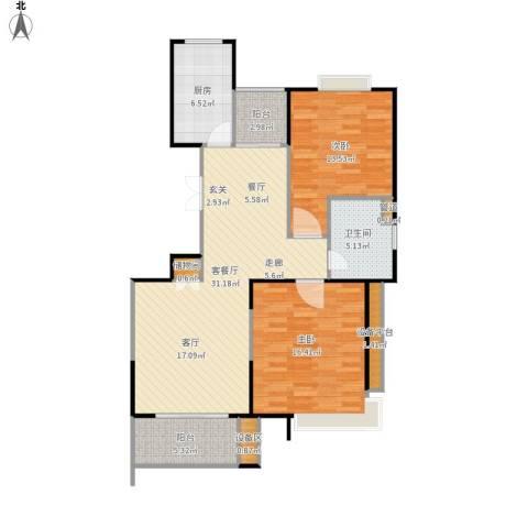 南方城二期2室1厅1卫1厨114.00㎡户型图