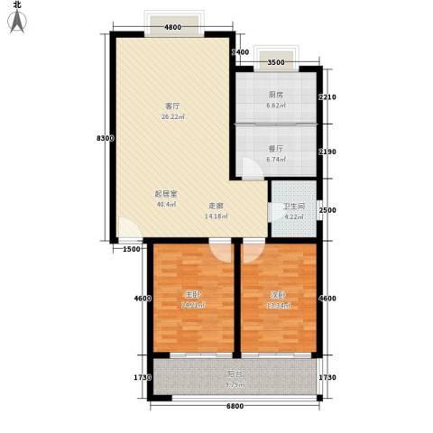 富丽园小区2室1厅1卫1厨110.00㎡户型图