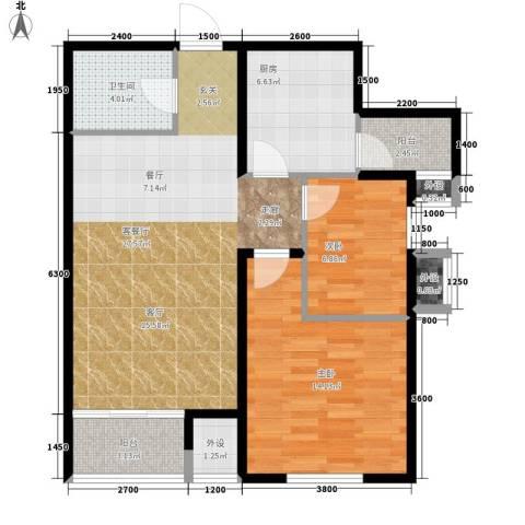 翟营水晶园2室1厅1卫1厨93.00㎡户型图