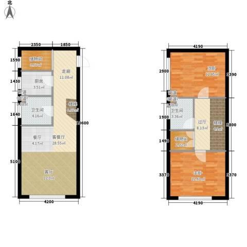 法兰之香2室1厅2卫1厨111.00㎡户型图