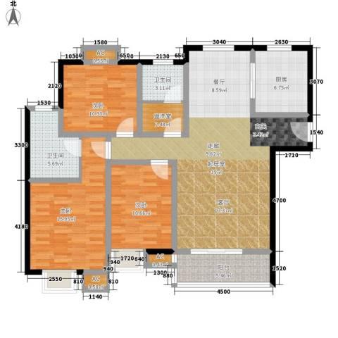 天慧国际3室0厅2卫1厨137.00㎡户型图