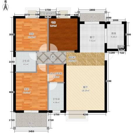 林科大单位房3室1厅2卫1厨140.00㎡户型图