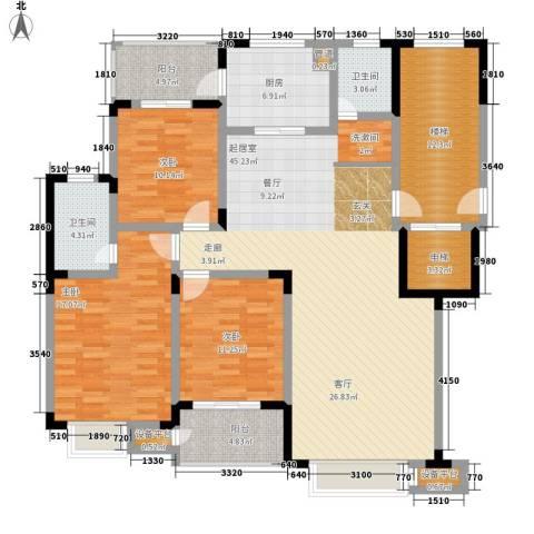 天鸿天府3室0厅2卫1厨180.00㎡户型图