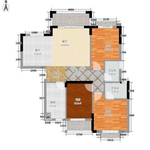 金峰小区3室1厅2卫1厨89.00㎡户型图