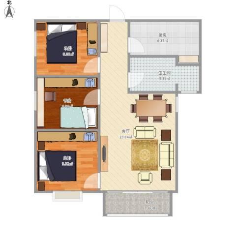 上上城青年社区二期3室1厅1卫1厨88.00㎡户型图