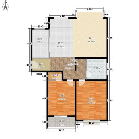 水云间蓝湾2室1厅1卫1厨118.00㎡户型图