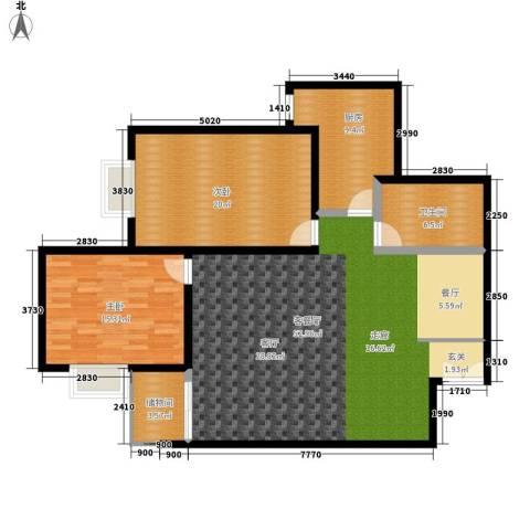东方广场2室1厅1卫1厨120.00㎡户型图