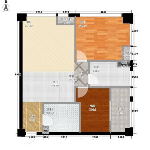 麓谷坐标2室1厅1卫1厨94.00㎡户型图