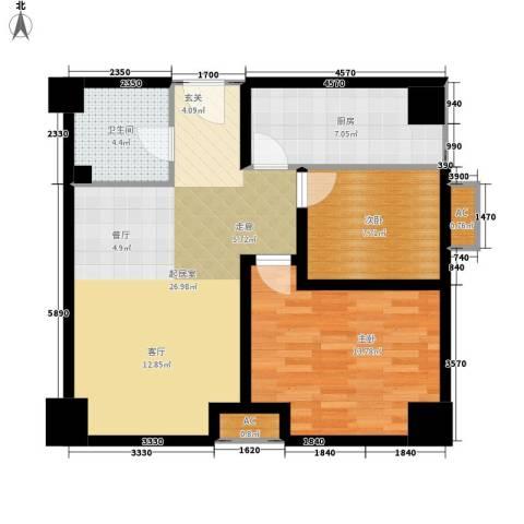 高新水晶城2室0厅1卫1厨91.00㎡户型图