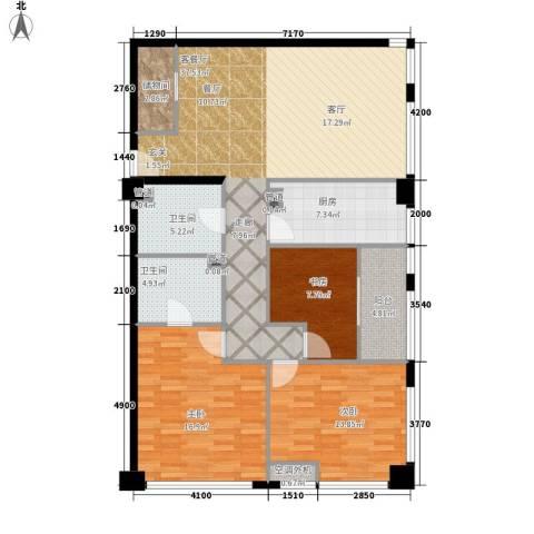 麓谷坐标3室1厅2卫1厨143.00㎡户型图