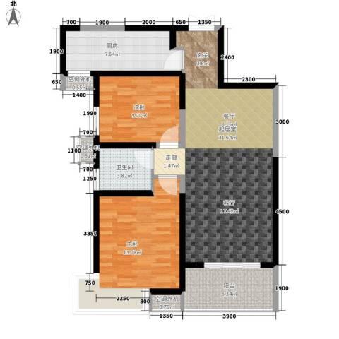 紫薇曲江意境2室0厅1卫1厨99.00㎡户型图