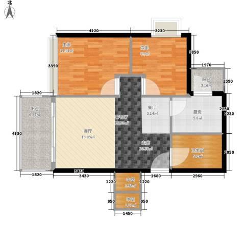 江南苑2室1厅1卫1厨78.00㎡户型图
