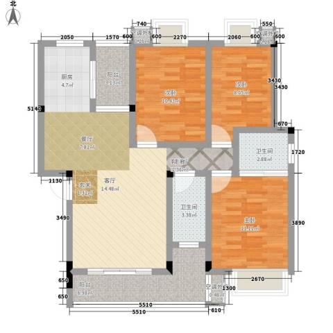 科技公寓3室1厅2卫0厨115.00㎡户型图