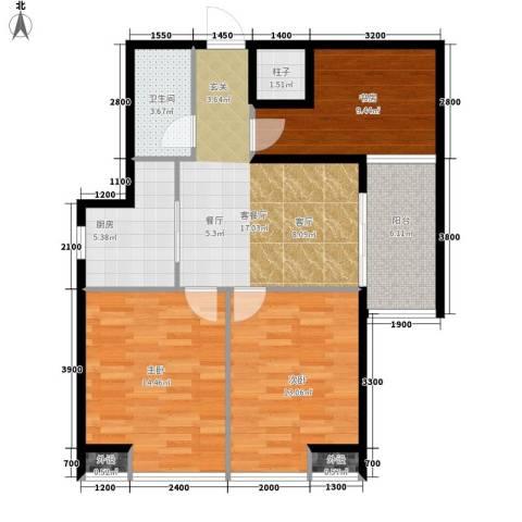 藏龙福地3室1厅1卫1厨96.00㎡户型图