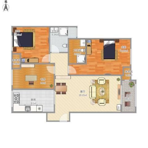 中华御景湾许先生110平3室1厅2卫1厨125.00㎡户型图