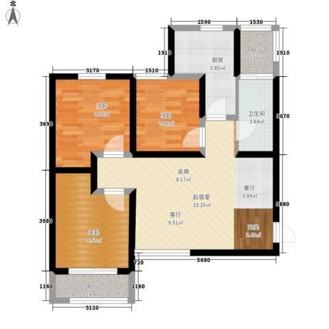 中谋壹品公馆3室0厅1卫1厨94.00㎡户型图