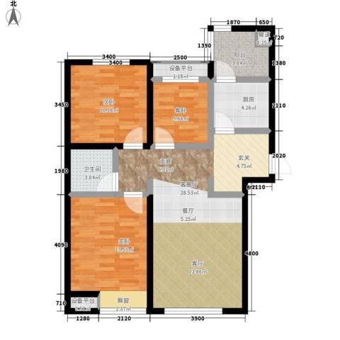 弘泽鉴筑3室1厅1卫1厨106.00㎡户型图