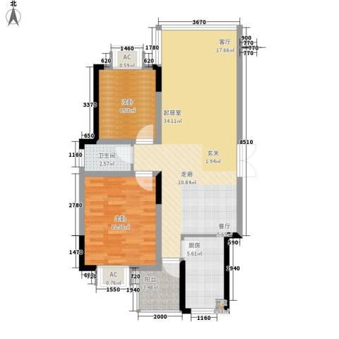 鑫天山水洲城2室0厅1卫1厨105.00㎡户型图