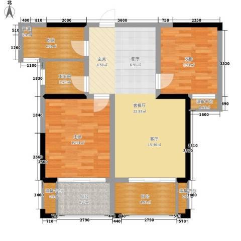 鑫远湘府华城2室1厅1卫1厨88.00㎡户型图