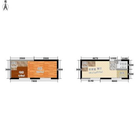 广天国际公寓1室0厅1卫0厨58.00㎡户型图