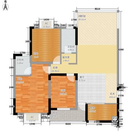鑫天山水洲城3室0厅2卫1厨132.00㎡户型图