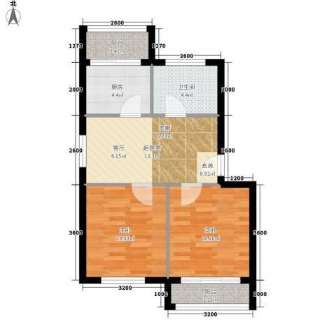 龙乡小区2室0厅1卫1厨67.00㎡户型图