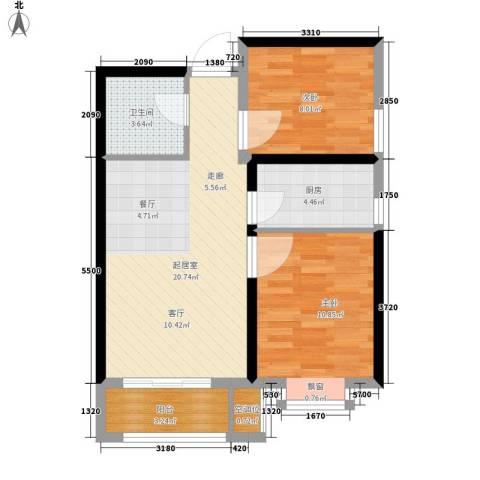 中谋壹品公馆2室0厅1卫1厨75.00㎡户型图