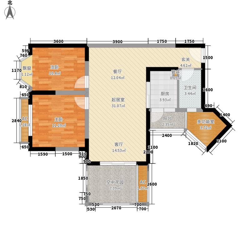 润扬双河鹭岛85.20㎡一期30号楼标准层30-C户型
