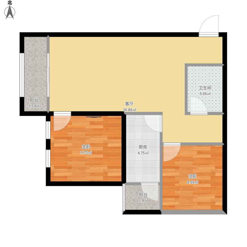2室2厅1厨1卫2阳台E2户型