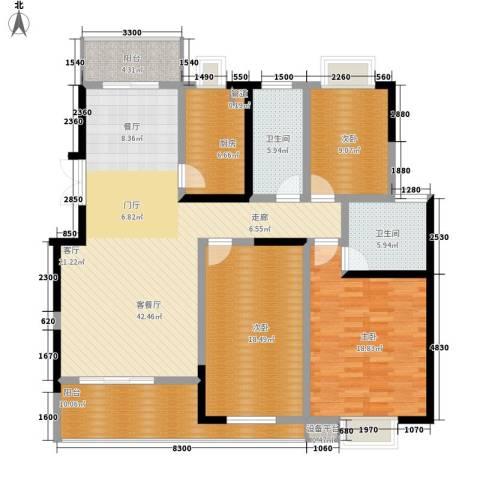 鑫远湘府华城3室1厅2卫1厨140.00㎡户型图