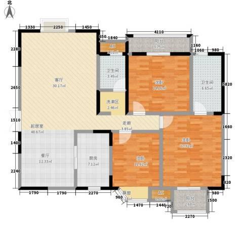 香海西岸3室0厅2卫1厨123.00㎡户型图