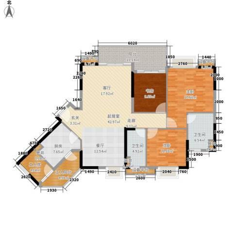 可逸豪苑3室0厅2卫1厨135.00㎡户型图