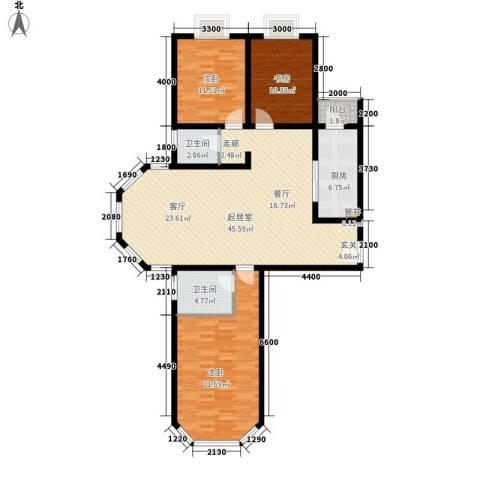 山水汇豪3室0厅2卫1厨131.00㎡户型图
