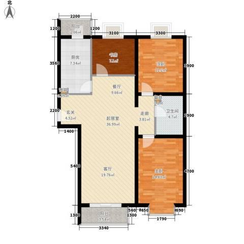 山水汇豪3室0厅1卫1厨107.00㎡户型图