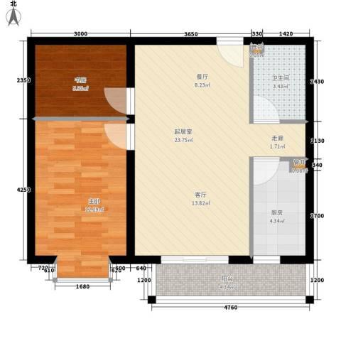 山水汇豪2室0厅1卫1厨68.00㎡户型图
