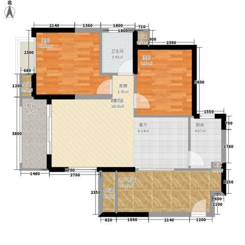 旭辉藏郡2室0厅1卫1厨88.00㎡户型图