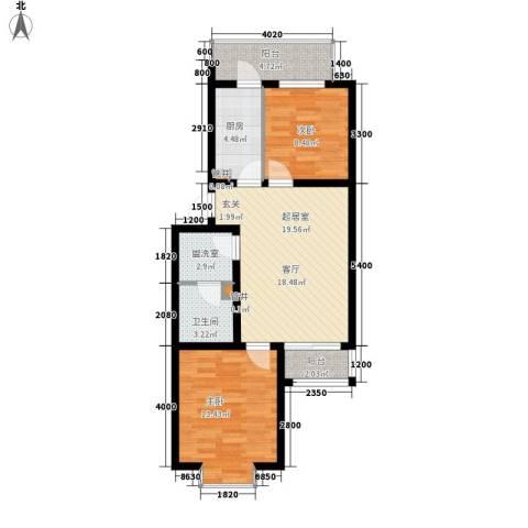 山水汇豪2室0厅1卫1厨78.00㎡户型图